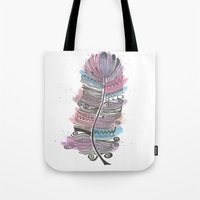 Purple and Blue Zen Feather Tote Bag