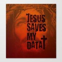 Jesus saves my data Canvas Print