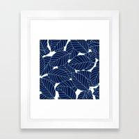 Sweet leafs:  Navy Framed Art Print