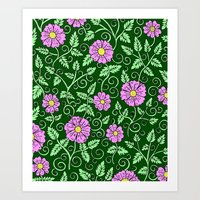 Forest Green Floral Art Print