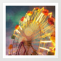 Ride the Night Sky carnival ferris wheel Art Print