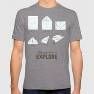 Let's Go Explore Mens Fitted Tee Tri-Grey SMALL