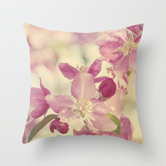 Pink Crabapple Blossom Throw Pillow