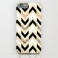iPhone Cases featuring Black, White & Gold Glitter Herringbone Chevron on Nude Cream by Tangerine-Tane