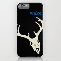 iPhone & iPod Case featuring WAKE - SKULL (BLACK) by blip