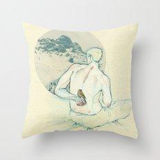 Boy and bird. Throw Pillow
