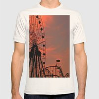 Sundown in Fun Town Mens Fitted Tee Natural SMALL