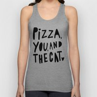 Pizza, You, and the cat - hand lettered art Unisex Tank Top