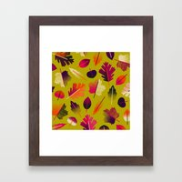 Fall Leaves Pattern Framed Art Print