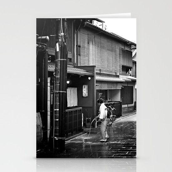 Watering the Streets of Gion, Kyoto Stationery Card