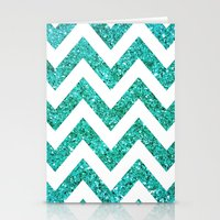 TEAL GLITTER CHEVRON Stationery Cards