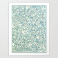 Detailed rectangle, light blue  Art Print