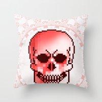 pixel skull Throw Pillow