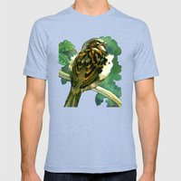 Sparrow In Puriri Tree Mens Fitted Tee Tri-Blue SMALL
