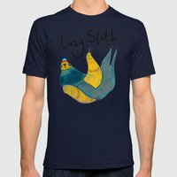 Lazy Sloth Mens Fitted Tee Navy SMALL