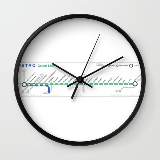 Twin Cities METRO Green Line Map Wall Clock