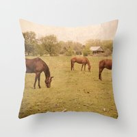 Three Horses Grazing.  Horse Photograph.  Landscape and Nature Photo. Wisconsin Throw Pillow