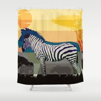 Sunset in Savanna Shower Curtain