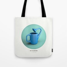 The Uncomfortable Watering can in mint coloured background Tote Bag