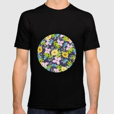 Floral Circle  Mens Fitted Tee Black SMALL