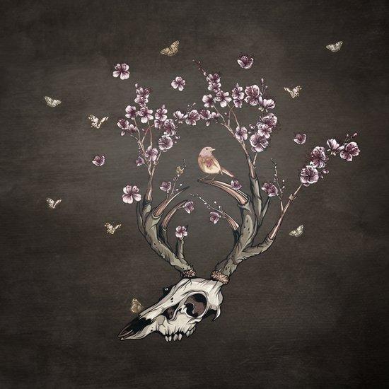Animal Skull and Butterflies Art Print