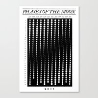 2015 Moon Phase Calendar Canvas Print