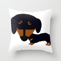 Dachshund (black and tan) Throw Pillow