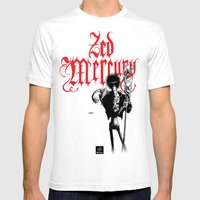 Zed Mercury RED Print Mens Fitted Tee White SMALL