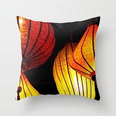 Neon Lanterns Throw Pillow
