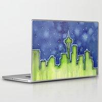 seattle Laptop & iPad Skins featuring Seattle  by Olechka