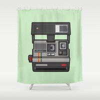 #43 Polaroid Camera Shower Curtain