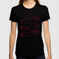 Classic Horror Hands (Red Line) Womens Fitted Tee Black SMALL