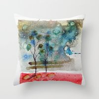 waxing crescent.one Throw Pillow