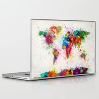 map Laptop & iPad Skins featuring Map of the World Map Paint Splashes by artPause