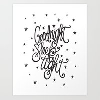GOODNIGHT SLEEP TIGHT Art Print