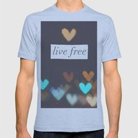 Live Free  Mens Fitted Tee Athletic Blue SMALL