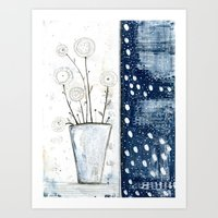 White And Navy Stilllife Art Print