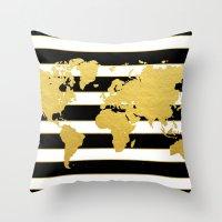 Gold Striped World Map Throw Pillow