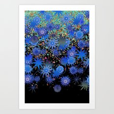 blues with sparks Art Print