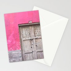 Grey Door on Pink Wall (Retro and Vintage Urban, architecture photography) Stationery Cards