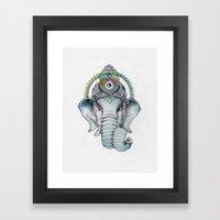 Ganesha Watercolor Framed Art Print