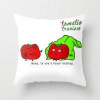 Tomatito Travieso Throw Pillow