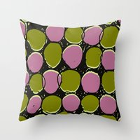 Green and pink spots - drawn and digital pattern. Throw Pillow