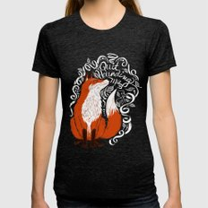 The Fox Says Womens Fitted Tee Tri-Black SMALL