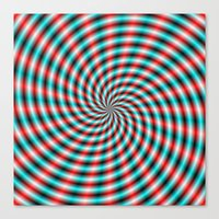Turquoise And Red Spiral… Canvas Print