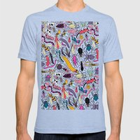Bug Pattern Mens Fitted Tee Tri-Blue SMALL