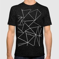 Abstract Dotted Lines White on Black Mens Fitted Tee Tri-Black SMALL