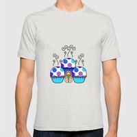 Cute Monster With Blue And Purple Polkadot Cupcakes Mens Fitted Tee Silver SMALL