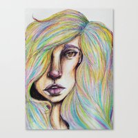 CRAYON LOVE:Woman in the Rainbow Hair Canvas Print