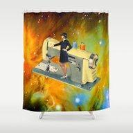 Barbara's Spaceship Shower Curtain
